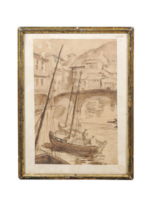 Early 20th Century Watercolor of Canal Scene
