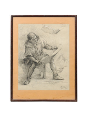 Framed French Drawing of Seated Man