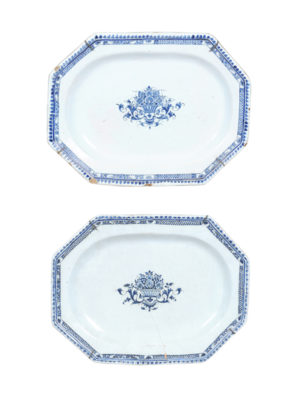 Pair Blue & White Faience Platters