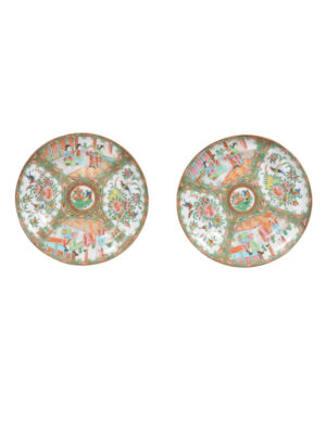 Pair Chinese Export Rose Medallion Plates