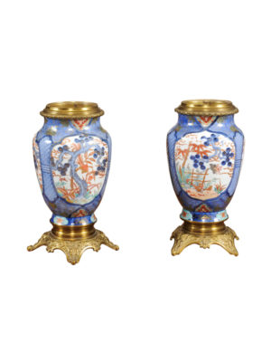 Pair Chinese Export Vases with Brass Mounts