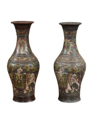 Pair Cloisonne Urns