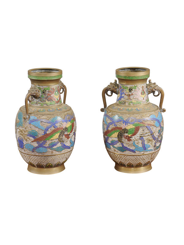 Pair Cloisonne Urns with Handles