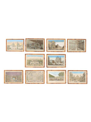 Set 10 Framed Architectural Engravings