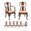 Set 8 Queen Anne Style Walnut Dining Chairs