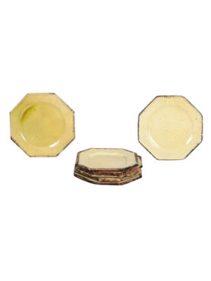 Yellow Glazed Octagonal Plate Set