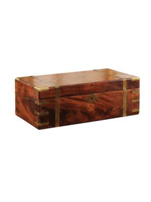 19th Century English Brass Banded Mahogany Box