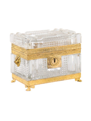 19th Century French Cut Glass & Ormalu Box
