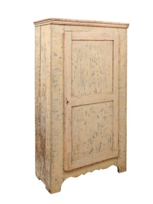 19th Century French Yellow Painted Cupboard