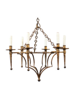 20th Century French Gilt Metal Chandelier