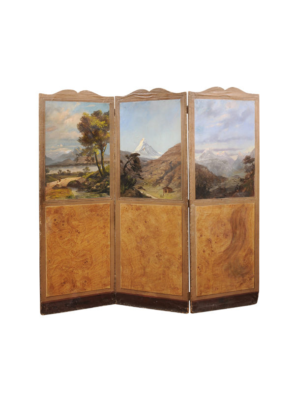 3 Panel Oil on Panel Folding Screen