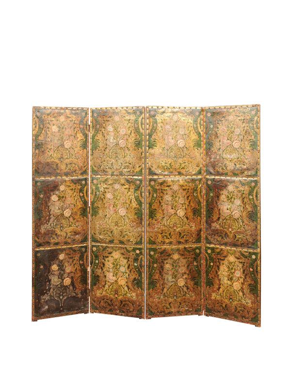 4-Panel Leather Folding Screen