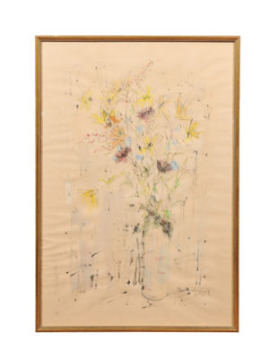 Framed 20th Century Watercolor Floral Arrangement