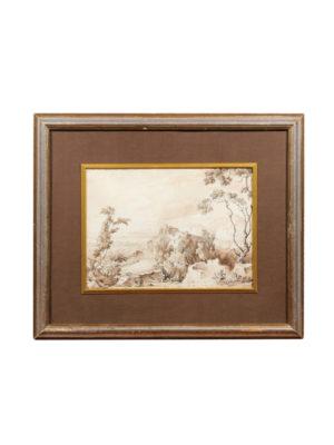 Framed Italian Watercolor Landscape
