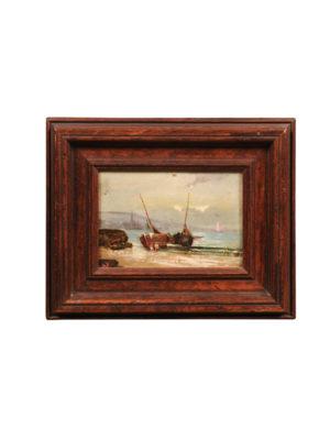 Framed Oil on Panel Boat Painting