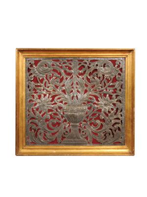 Framed Tole Plaque of Flower Urn