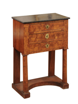 French Empire Bedside Commode in Burled Elm