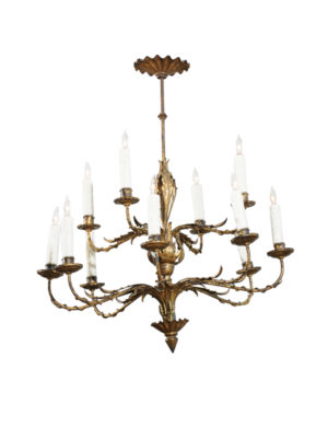 Gilt Metal 12-Light Chandelier