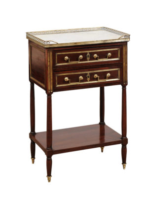 Louis XVI Walnut Chevet with Marble Top