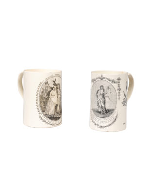 Pair Black Transferware Mugs