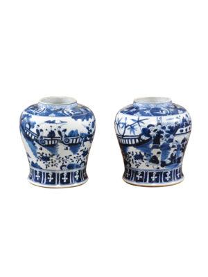 Pair Blue & White Ginger Jars