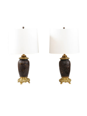Pair Bronze Lamps