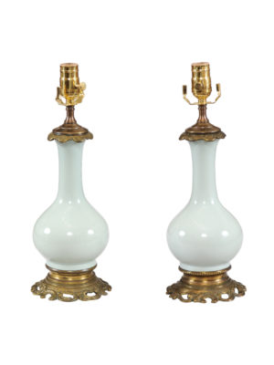 Pair Celadon Glazed Porcelain Lamps