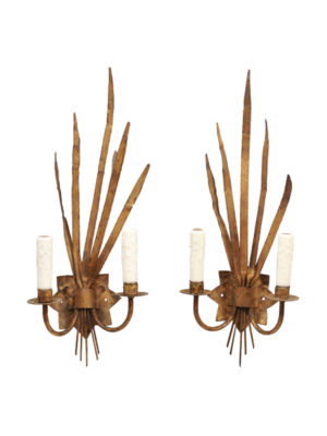 Pair French Gilt Metal Sconces