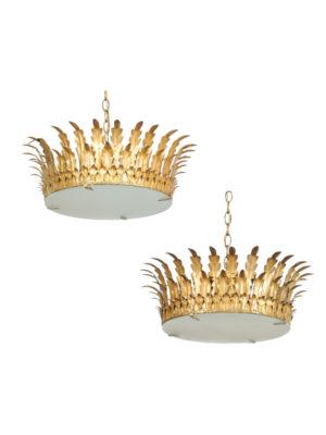 Pair Gilt Metal Crown Light Fixtures