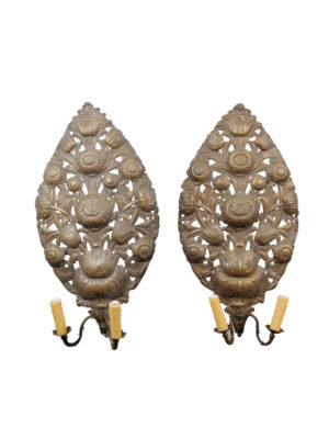 Pair Gilt Metal Sconces with Sunflowers