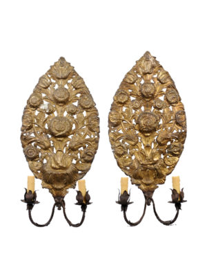 Pair Gilt Metal Sunflower Sconces