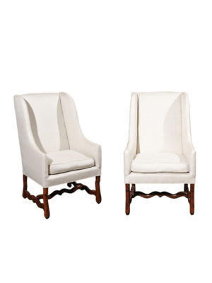 Pair Louis XIV Style Walnut Wing Chairs