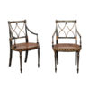 Pair Regency Style Black & Gold Armchairs