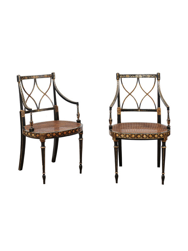 Pair Regency Style Black & Gold Armchairs