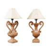 Pair Wooden Urn Shaped Lamps