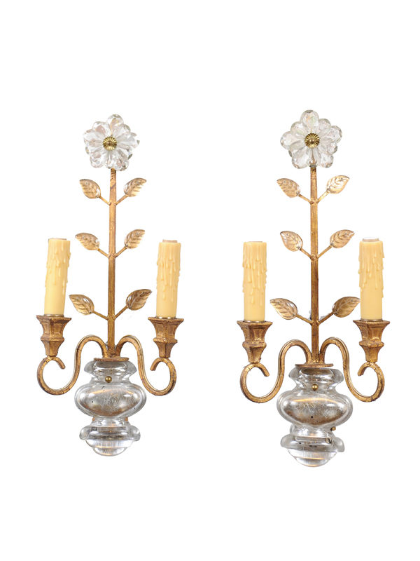 Pair of 2-Light Sconces with Crystal Flowers