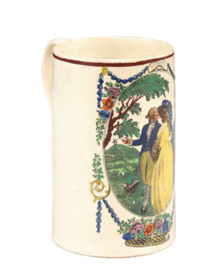Pearlware Mug with Man & Woman