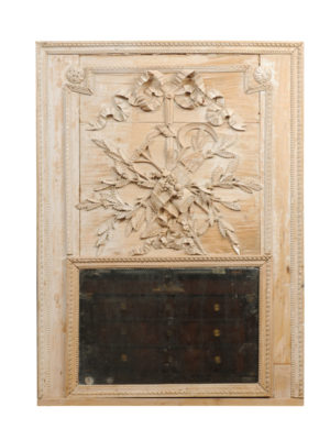 Pine Trumeau Mirror with Carved Crest