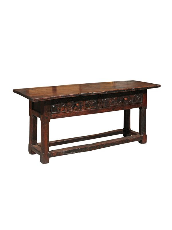 17th Century Spanish Hall Table with Carved Drawers