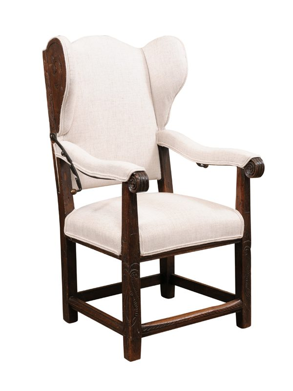 18th Century French Oak Reclining Wing Chair