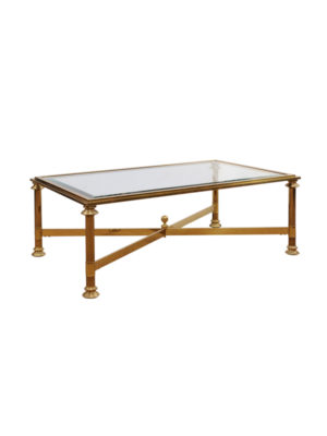 Brass & Glass Coffee Table with Cross Stretcher