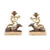 Pair 19th Century French Bronze Dog Candlesticks