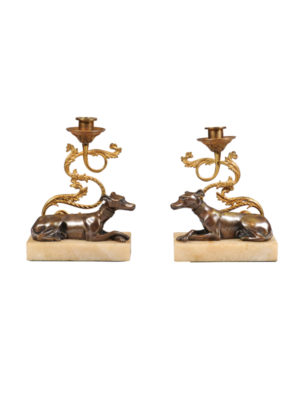Pair 19th Century French Bronze Dog Candlesticks