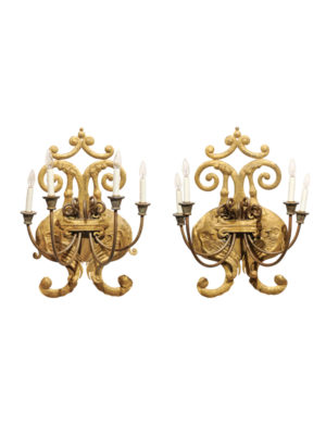 Pair Baroque Style Gilt Tole 4-Light Sconces