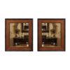 Pair Inlaid Wood Mirrors