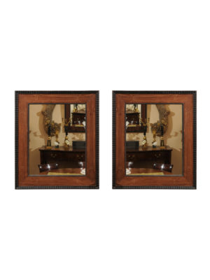 Pair Inlaid Wood Mirrors