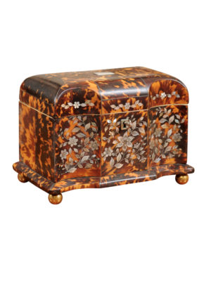 Early 19th Century Mother of Pearly Inlaid Tortoiseshell Tea Caddy