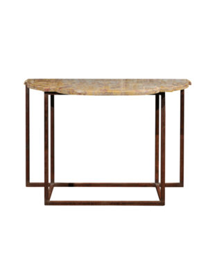 Iron Console with Breche d'Alep Marble Top