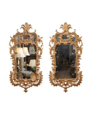 Pair Louis XV Style Giltwood Mirrors