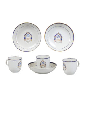 Set 3 Blue & White Tea Cups & Saucers
